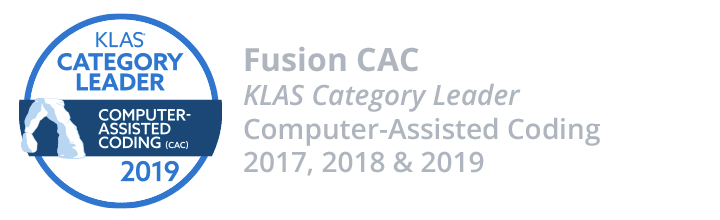 Fusion CAC - KLAS Category Leader - Computer-Assisted Coding - 2017, 2018 and 2019